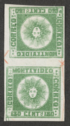 Uruguay: 1858 180 centavos green, an unused tête-bêche pair.
